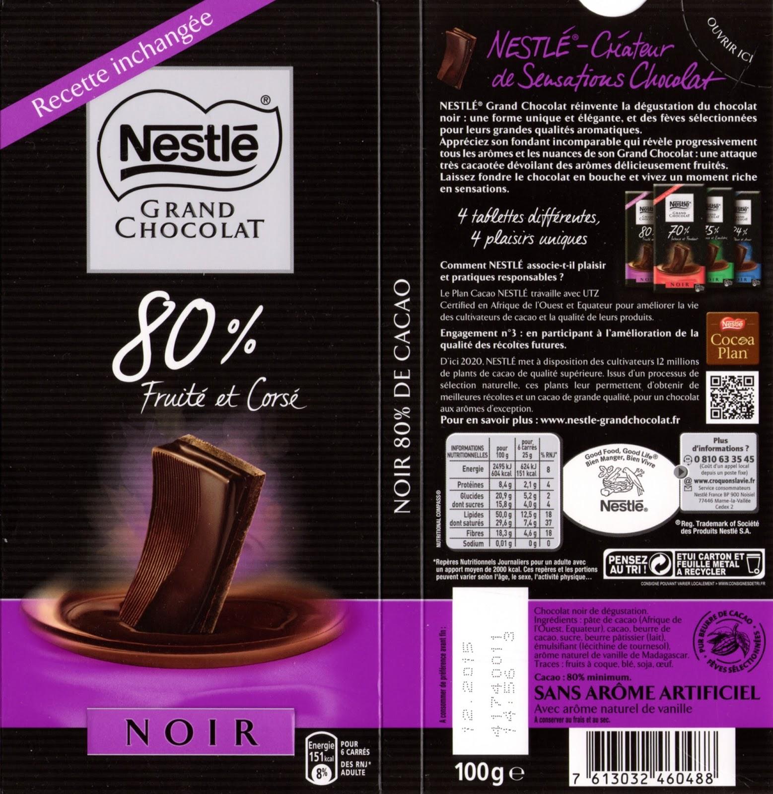 tablette de chocolat noir dégustation nestlé grand chocolat fruité et corsé 80