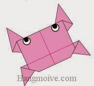 Bước 11: Vẽ mắt để hoàn thành cách xếp con cua bằng giấy theo phong cách origami.