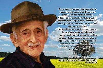 Lembrança do centenário de Adão Ferreira Pinto Sobrinho