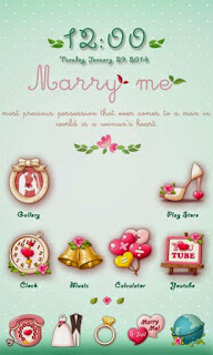 Screenshots of the Marry Me GO Launcher Theme for Android mobile, tablet, and Smartphone.