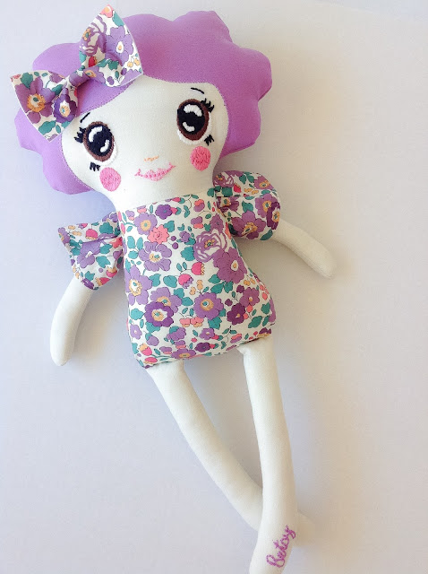 Liberty Keepsake Doll Betsy fabric with hand embroidered face made from dolls and daydreams pattern