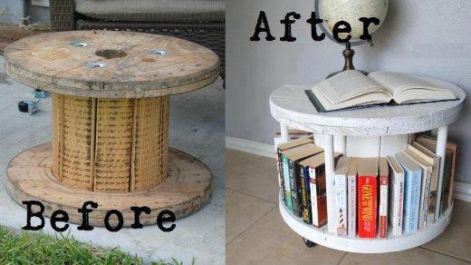 Mesita de madera con librería biblioteca