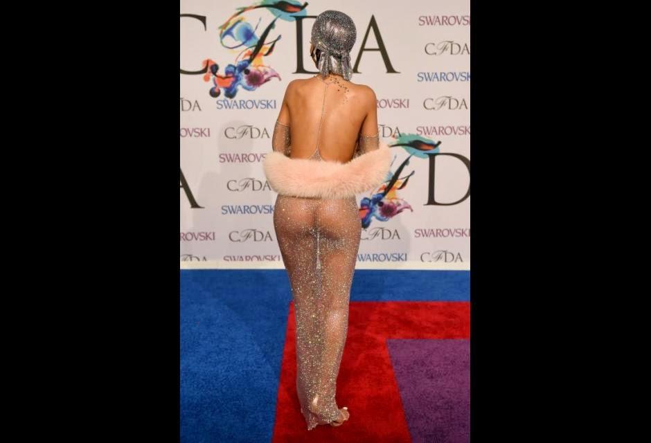 Rihanna Nipple-Baring, G-String Nude Dress