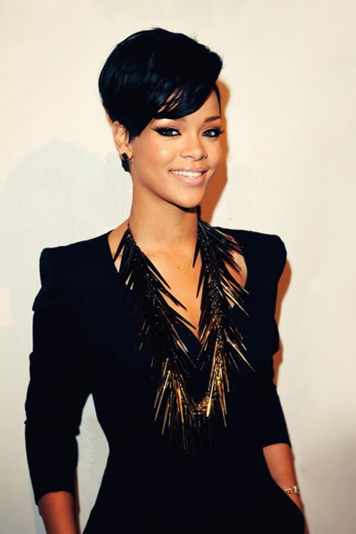 Rihanna African American Women Hairstyles with Bangs