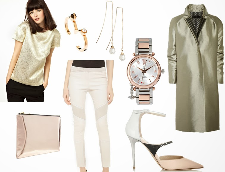 NYE pastels Jimmy Choo Typhoon shoes Whistles rose gold clutch Iro leather pants Haider Ackermann coat