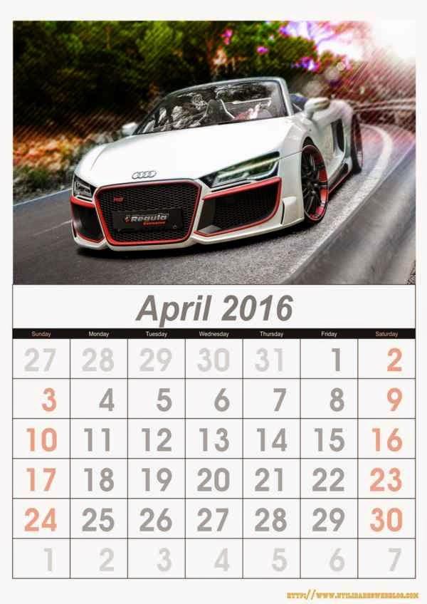 calendario de autos mes de abril año 2016 listos para imprimir