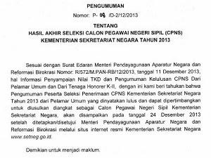 Pengumuman Hasil Akhir Seleksi CPNS Kemsetneg Tanggal 24 Desember 2013