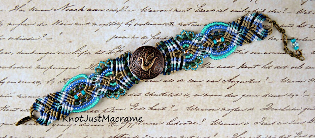 Dragon bracelet in teal, turquise, blue and khaki by Knot Just Macrame