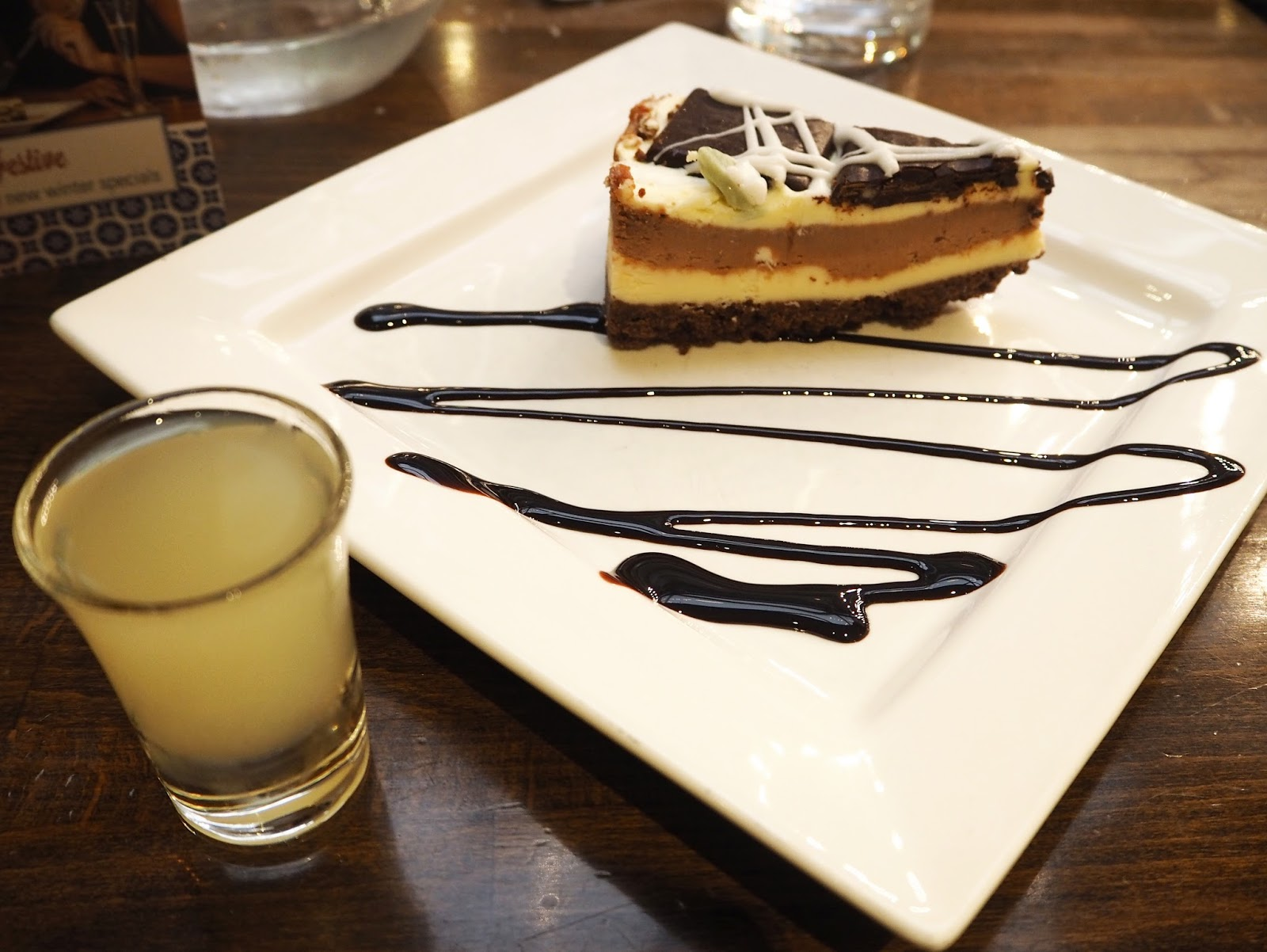 Prezzo Italian: Mint Chocolate Cheesecake with a shot of Limoncello