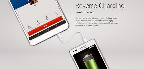 MediaPad X1 carga a otros dispositivos