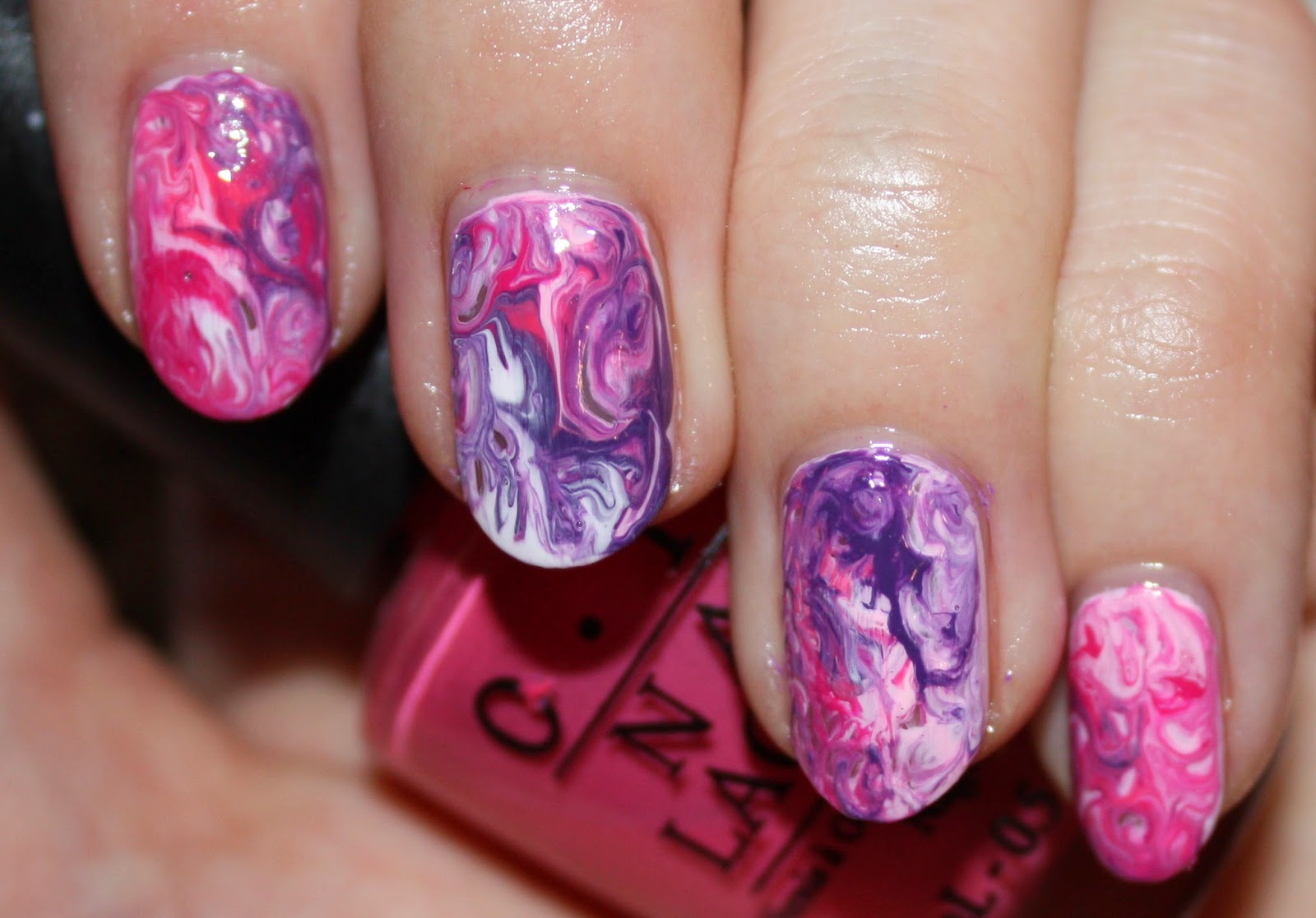 Pink and Purple Marble Nail Art