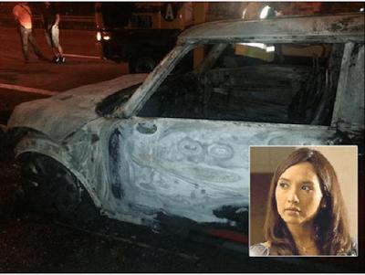 Artis Wanita Terlibat Dalam Kemalangan Teruk, Kereta Terbakar