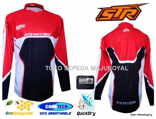 Jersey Sepeda STR Tangan Panjang MerahHitam