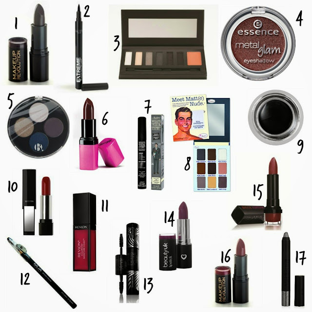 Vamp make up - Smokey eyes - lipstick - Eyeshadow - eyeshadow palette - mascara - eyeliner - ink pot - Bold lips - Sleek - Makeup Revolution - Essence - Barry M - B. - The Balm - Beauty UK - Topshop - Max Factor - Revlon - Bourjois - MUA