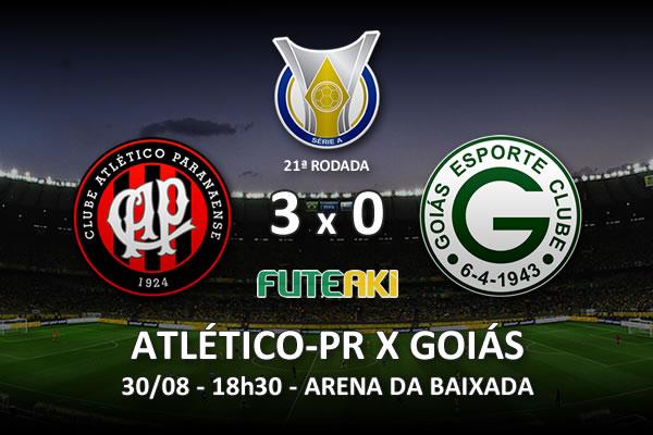 Veja o resumo da partida com os gols e os melhores momentos de Atlético-PR 3x0 Goiás pela 21ª rodada do Brasileirão 2015.