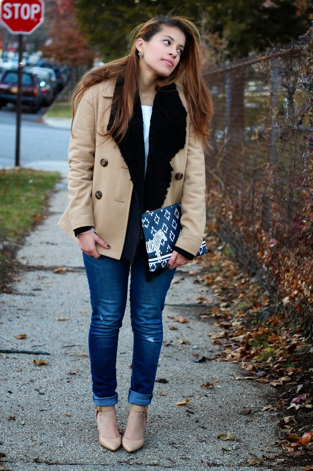 old navy, pea coat, camel, nine west, nude, ankle-strap heels, ankle strap, joan vass, ro and de, distressed, wool, heels, c.wonder, zebra, clutch, pouch, faux fur, sweater, faux fur sweater, faux, outfit of the day, ootd, nordstrom rack, nordstrom, faux leather, leather, jeans, skinny jeans, rockstar,