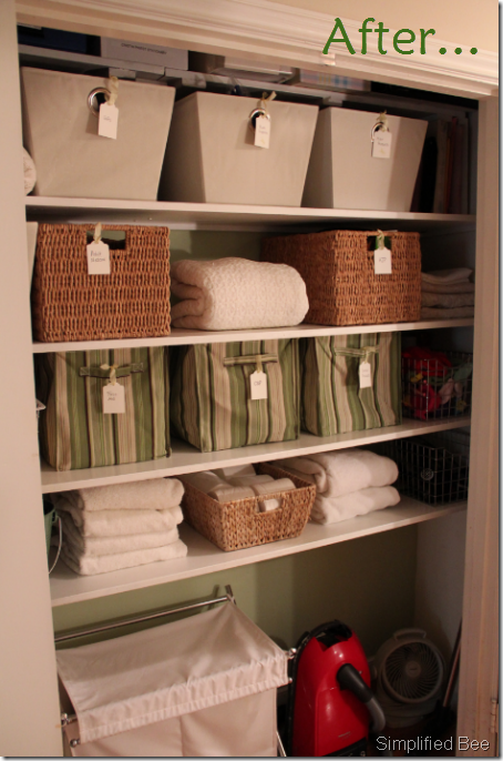 organized-linen-closet-stylish-simplifiedbee How To Organize Towels In A Closet