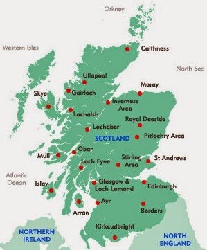 Map of Scotland and major towns and cities
