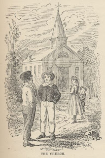 Tom Sawyer original artwork Mark Twain: The Church tom outside the chapel