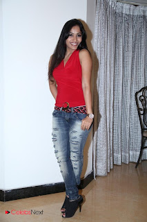 Madhavi Latha  Pictures in Red Sleeveless Top and Jeans at Muse Art Gallery  0016.jpg