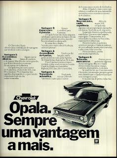 propaganda Chevrolet Opala - GM - 1974. brazilian advertising cars in the 70. os anos 70. história da década de 70; Brazil in the 70s; propaganda carros anos 70; Oswaldo Hernandez;