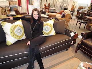 brown, sofa, C.R. Laine