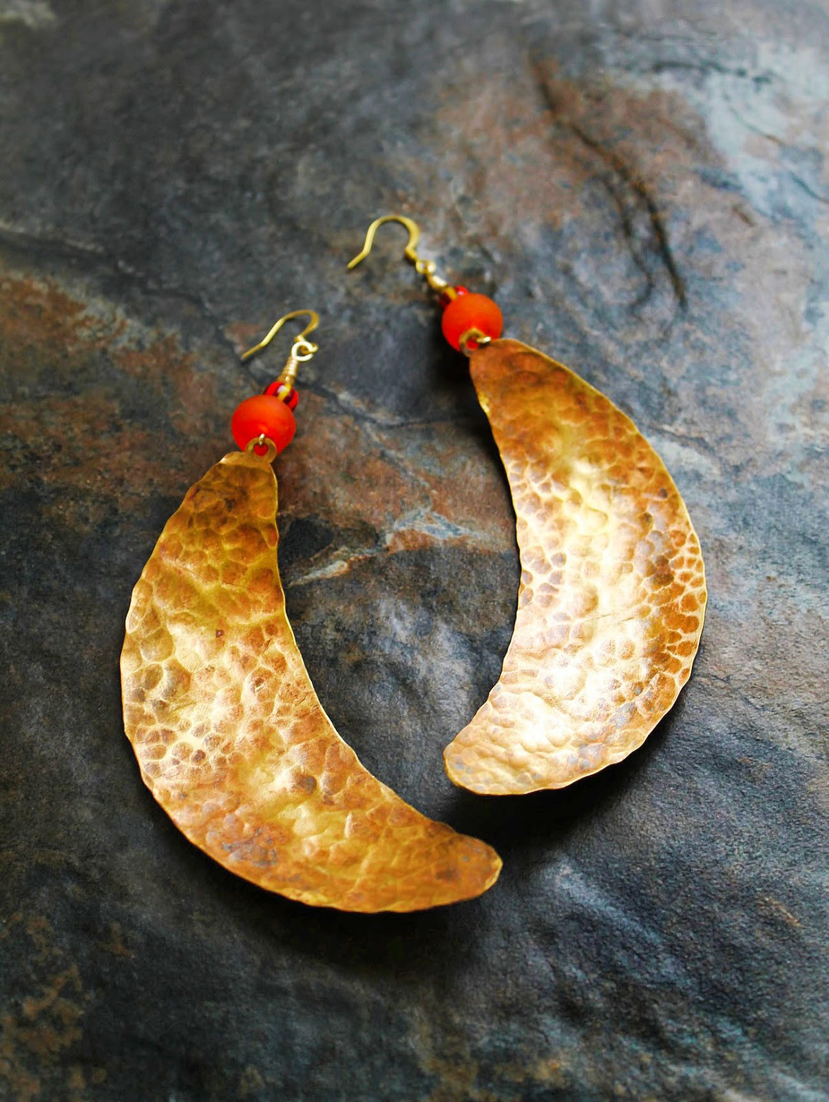 african hammered brass cresent earrings