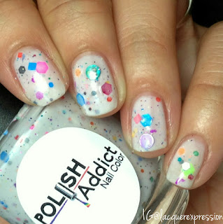 swatch of unicorns and rainbows nail polish by polish addict nail color