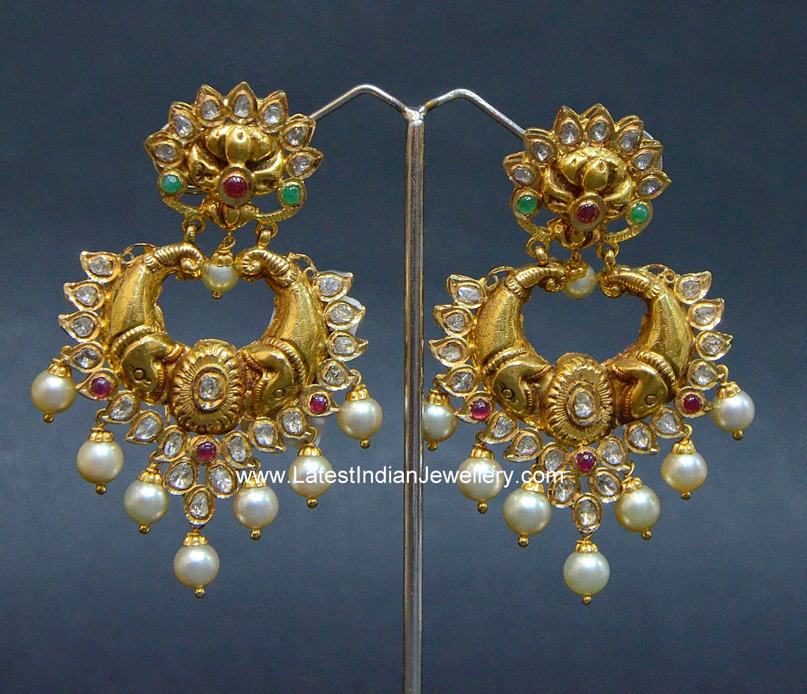 Temple Jewellery Nakshi ChandBali earrings