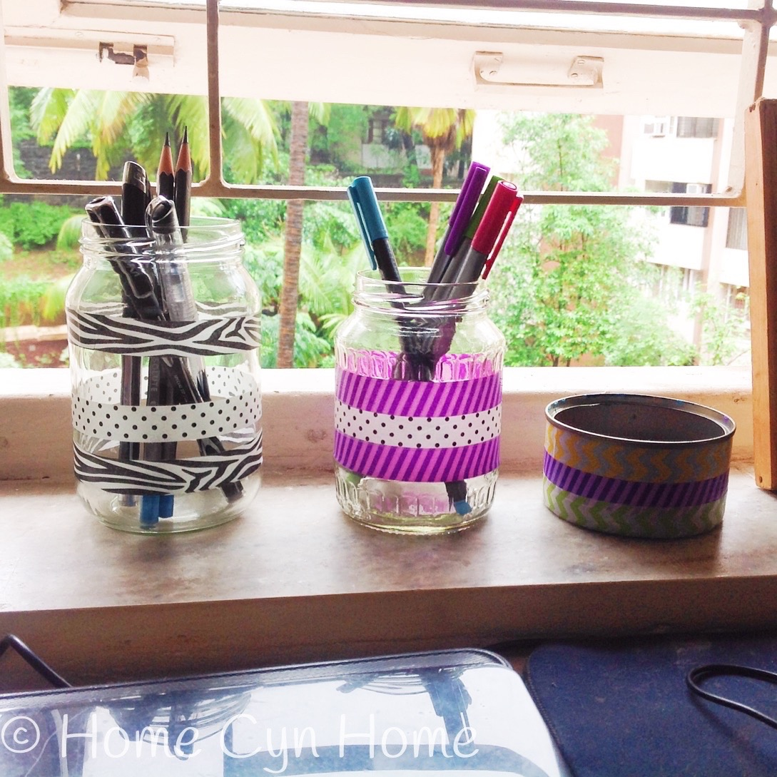 All you need for this DIY project is some washi tape and clean glass jars.