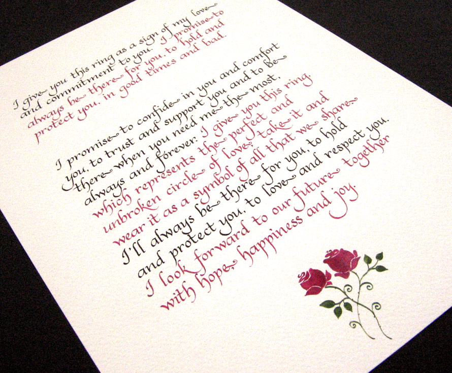 writing marriage vows 17 rules for writing your own wedding vows if you've decided to write your own wedding vows, strike exactly the right tone (and avoid gaffes) by following these.