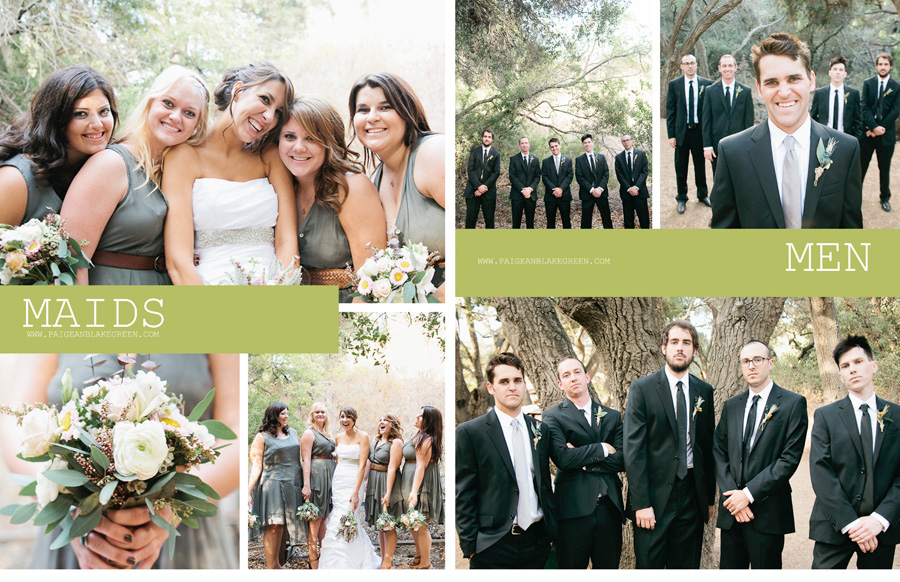 Bridesmaids, grey dress, brown belt, groomsmen, Oak Canyon Nature Center , Weddings by Paige and Blake Green Photography
