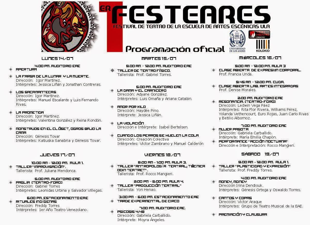 Programación del Festival.