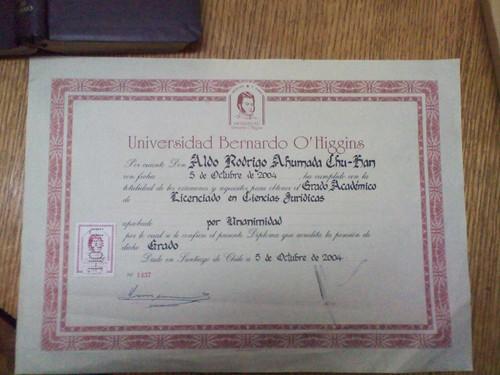 Diploma de licenciado en ciencias Juridicas