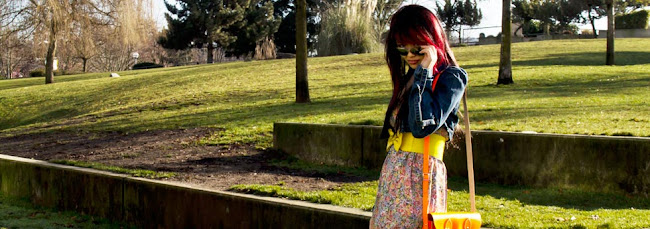Mirror Aviators from Blue ruby, Mirror Aviators, retro denim crop jacket from guess, retro denim crop top, denim crop jacket, floral dress from value village, blue tights from urban outfitters, floral dress, blue tights, brown shoes, cambridge satchel company orange flouro purse, bright yellow belt, spring outfit, spring time
