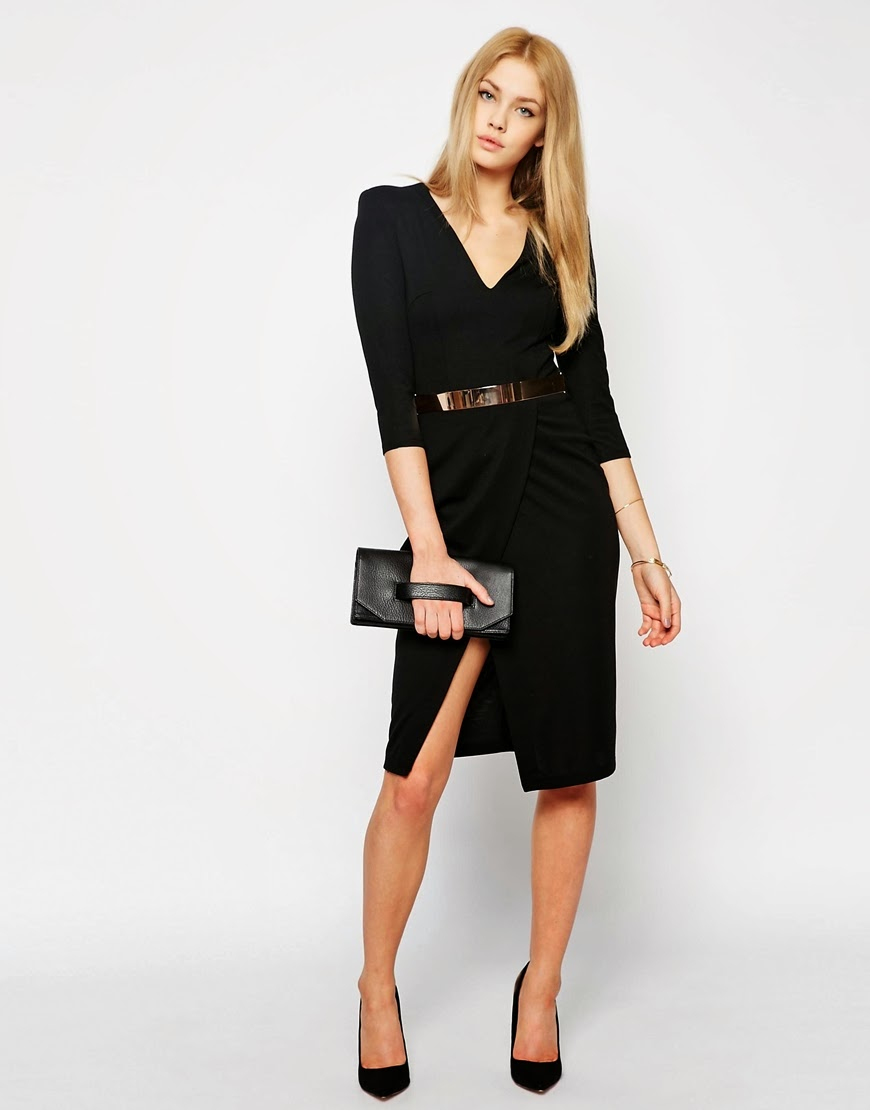 black v neck dress with gold belt
