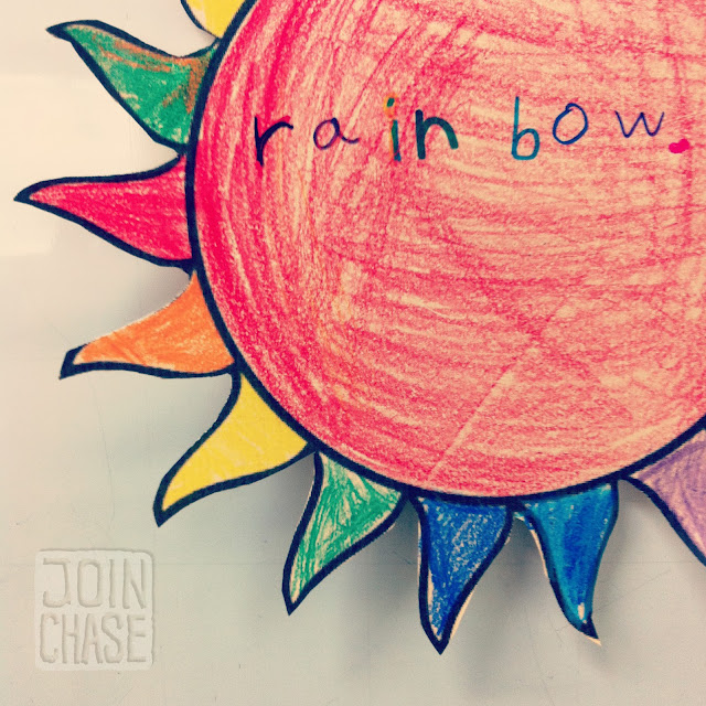 "A paper sun colored like a rainbow for ""Summer Fun"" English Camp in South Korea."