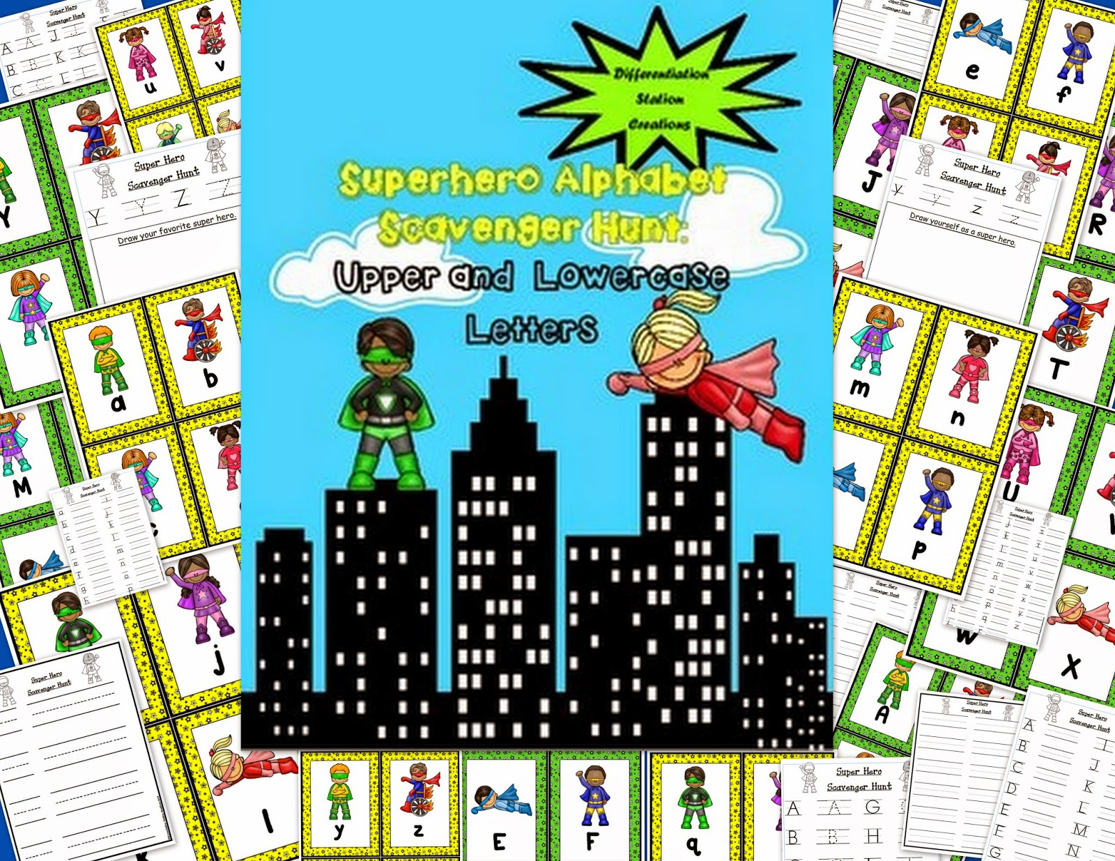 http://www.teacherspayteachers.com/Product/Super-Hero-Alphabet-Scavenger-Hunt-Upper-and-Lowercase-Letters-1166731