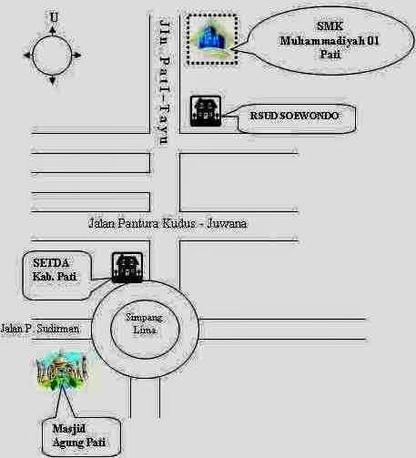 Lokasi denah SMA SMK Muhammadiyah 1 Pati