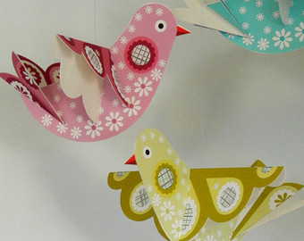 paper craft birds hanging