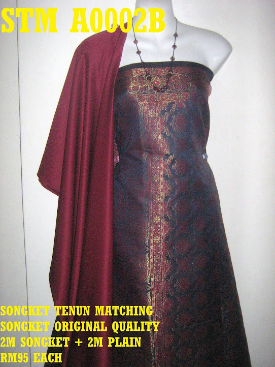 STM A0002B: SONGKET TENUN MATCHING, HIGH QUALITY, 2M SONGKET + 2M PLAIN