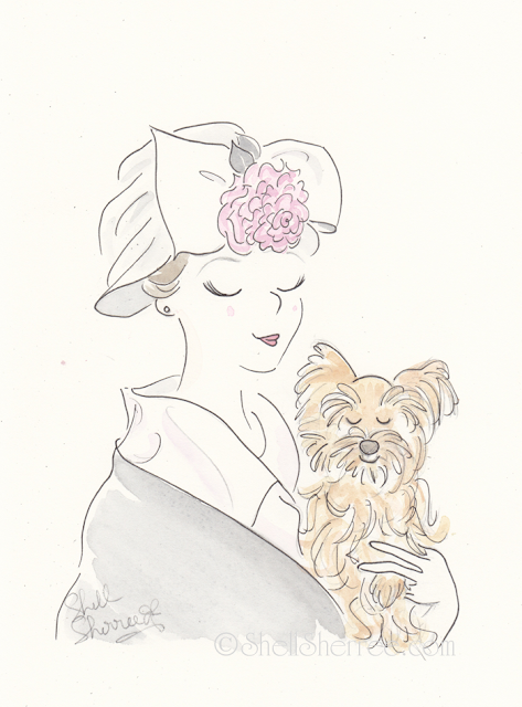 Fashion and fluffballs illustration :  Agent Violet and the Chameleonic Canine © Shell-Sherree