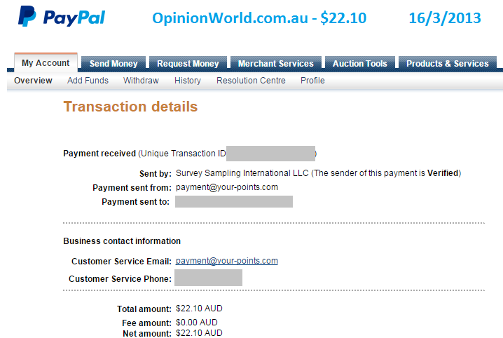 Paypal payment for $22.10 from Opinion World for online surveys.
