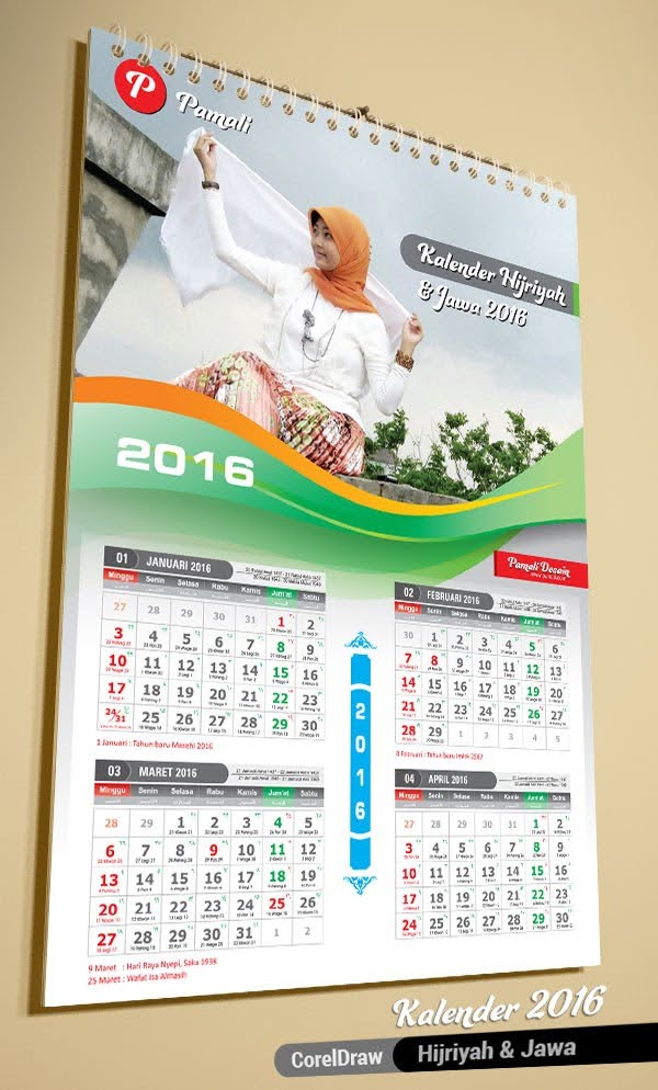 template kalender islami jilbab hijriyah 2016