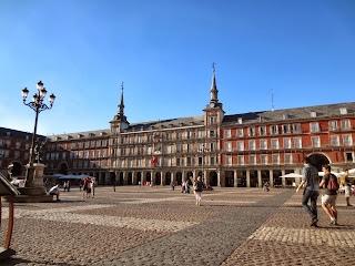 The beautiful view from the Plaza Mayor in Madrid, Spain