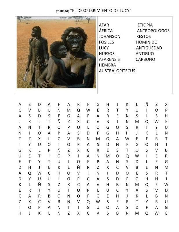 Sopa de letras del descubrimiento de lucy gratis
