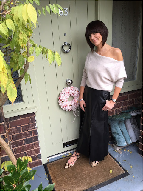 My Midlife Fashion, Zara Cashmere Sweater, Marks and Spencer A LIne Midi Skirt, Xara Printed leather leopard flats