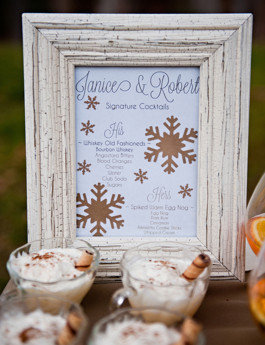 signature cocktails, spiked warm egg nog, whiskey old fashioned
