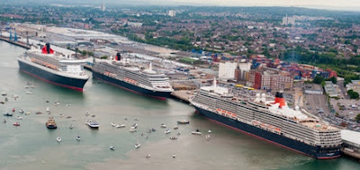 Cunards 3 Queens in Southampton