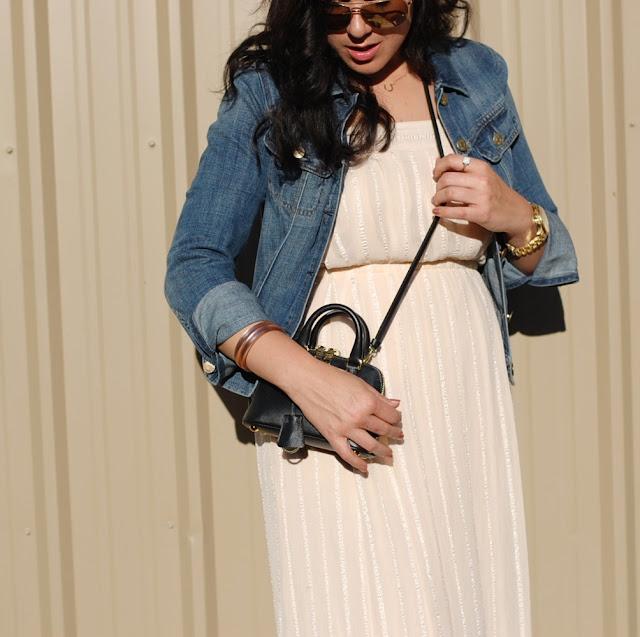 Winter white maxi dress, J.Crew jean jacket, gold aviator sunglasses and a mini crossbody Prada BL0851